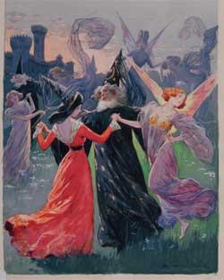 Adriano Minardi, copertina per Albertina Palau, Maghi e fate, « Biblioteca Salani Illustrata », Firenze, Salani, 1910. Tempera su carta, 3324,6 cm