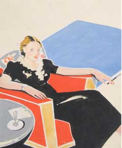Ermanno Toschi, copertina per Berta Ruck , La perla offuscata, Firenze, Salani, anni Trenta.  Tempera su carta, 12,8 x 10, 5 cm.