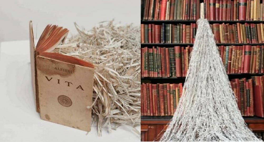Taglia i vecchi libri e li trasforma in sculture sospese: l'artista che ridà