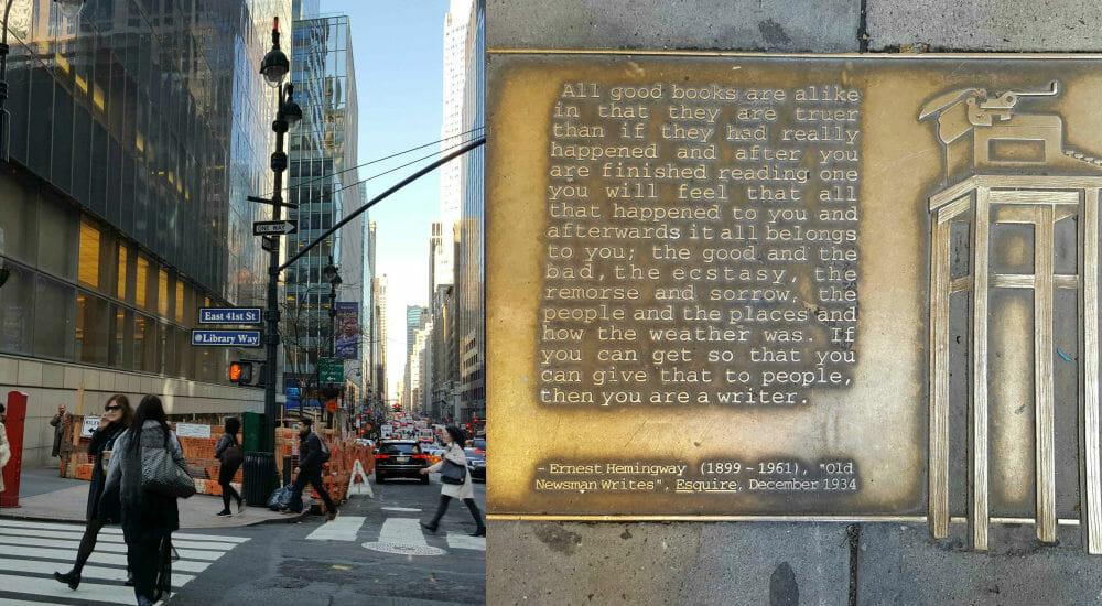 """La """"Library Way"""": i grandi della letteratura rivivono nei marciapiedi di New York"""