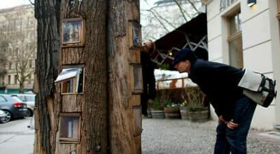 Gli alberi in giro per la città diventano biblioteche per il bookcrossing