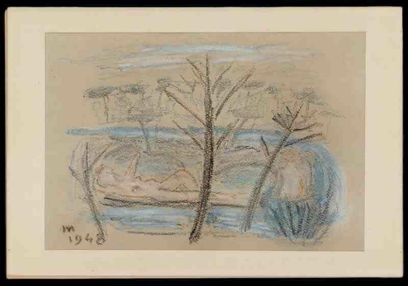 Eugenio Montale: Bozzetto Apres midi - pastello su cartoncino grigio - 1948 - 255x17cm _inv702 - Courtesy Fondazione CR Firenze