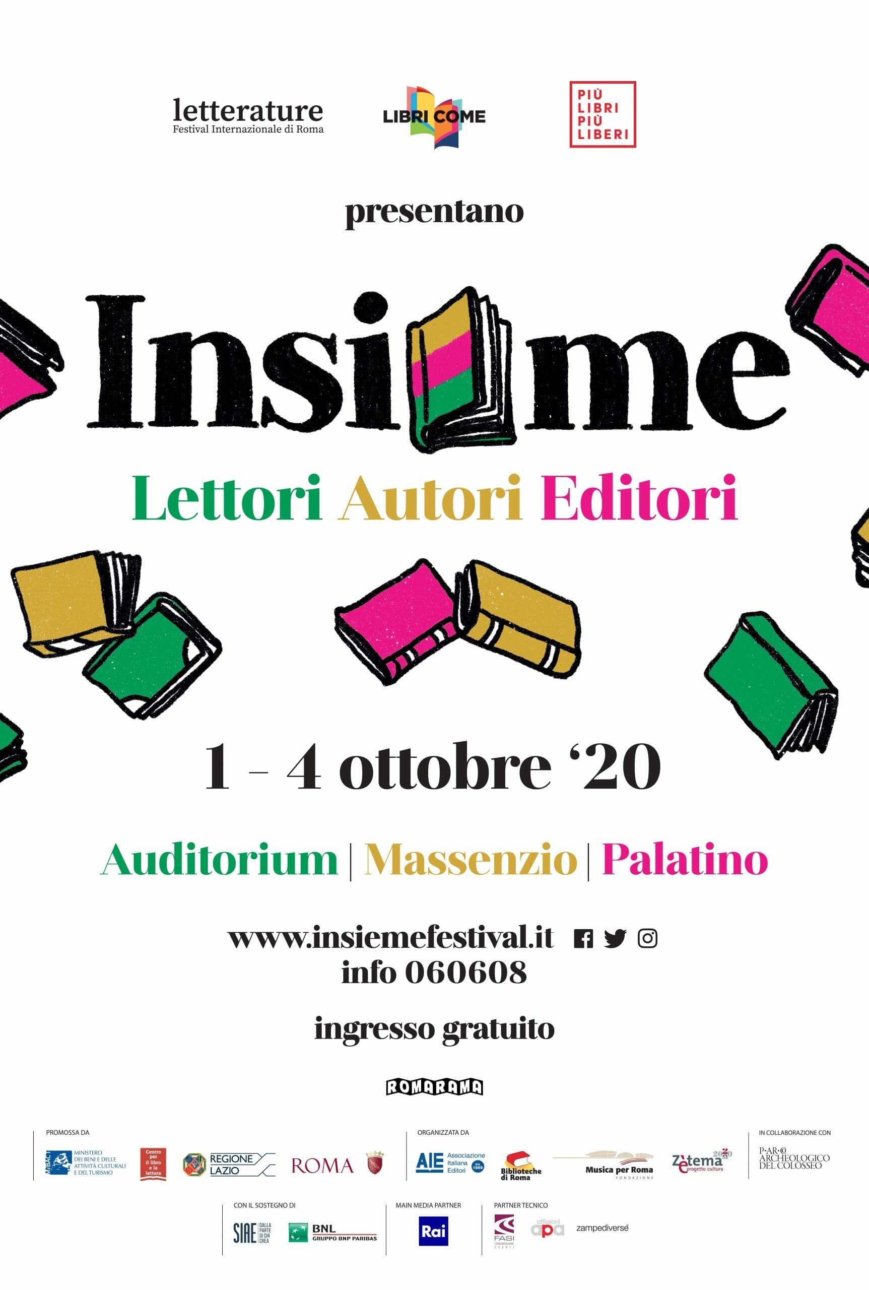 """Insieme"""" a Roma: nell'anno del virus un nuovo festival unisce lettori,  autori, editori – Il Libraio"""