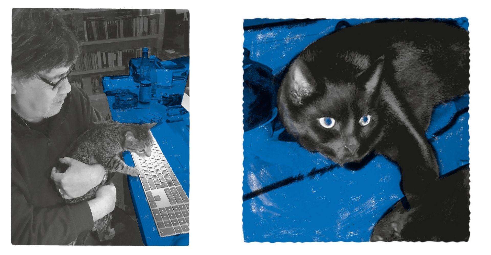 Luis Sepúlveda e il suo gatto