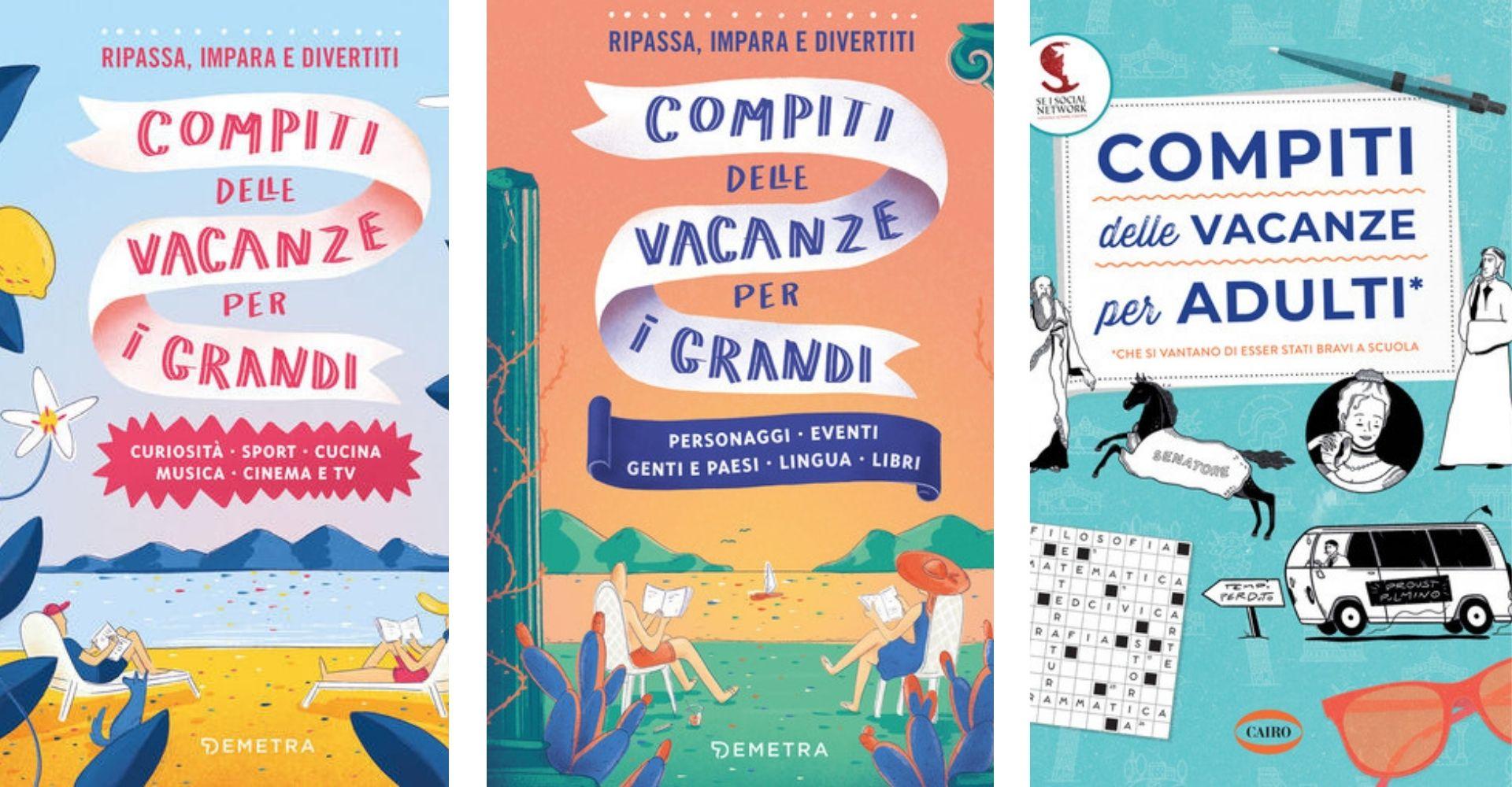 Copertine dei libri Compiti delle vacanze per i grandi e Compiti per le vacanze per adulti