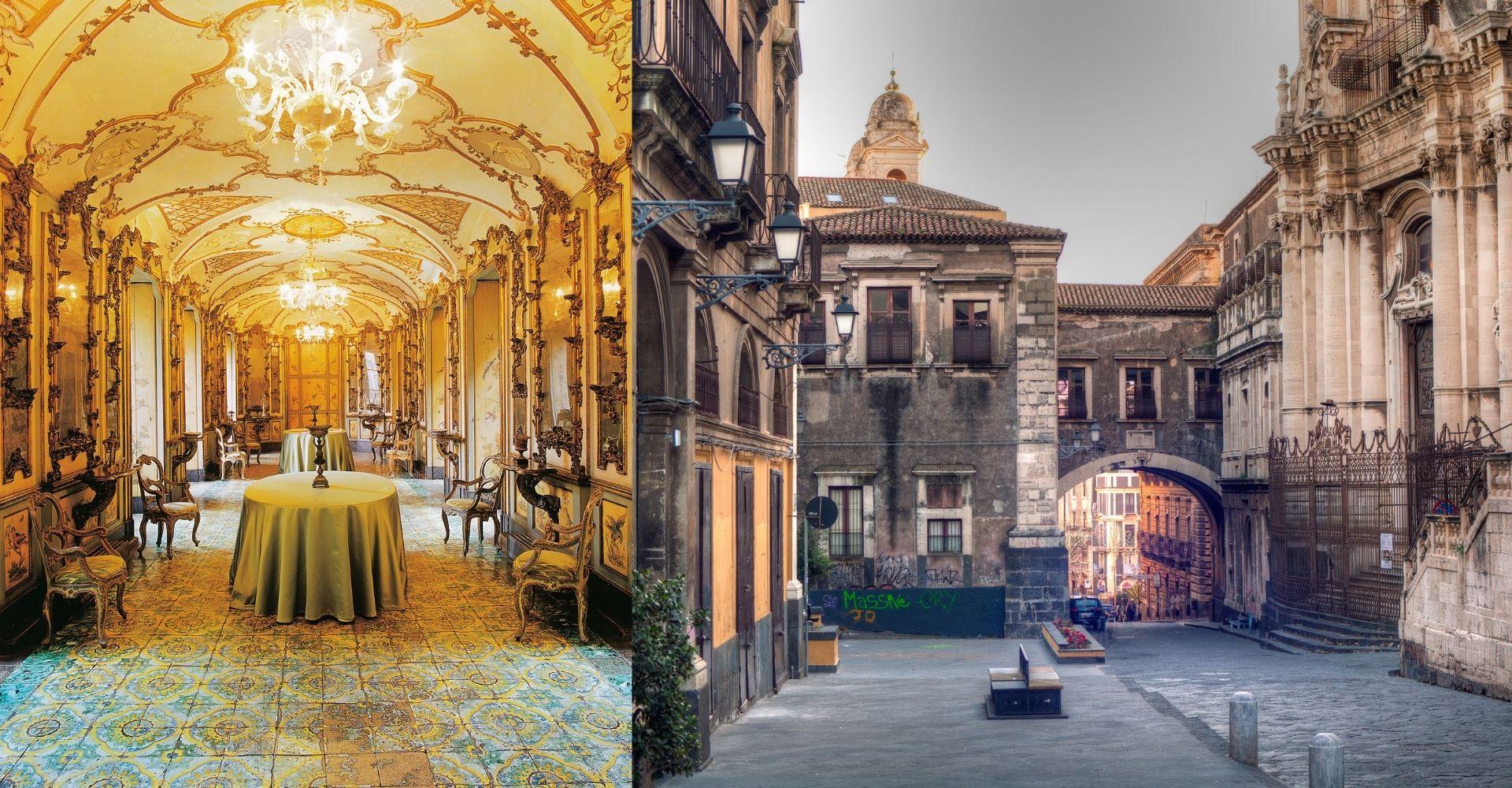 Sala del palazzo Biscari di Catania e vista di via dei Crociferi di Catania