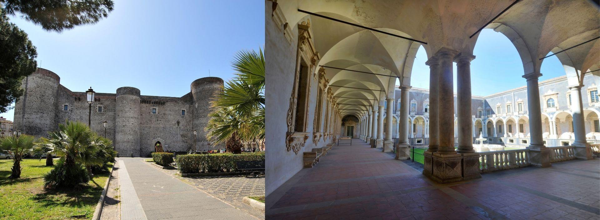Veduta del Castello Ursino di Catania e del Monastero di San Nicolò l'Arena